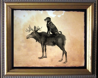 Labrador Retriever Chocolate Lab Riding Moose- Vintage Collage Art Print on Tea Stained Paper dog art - dog gifts - dog christmas gift