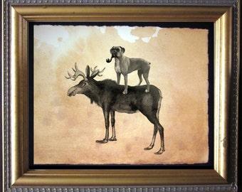 Boxer Dog Riding Moose - Vintage Collage Art Print on Tea Stained Paper - Vintage Art Print - Vintage Paper