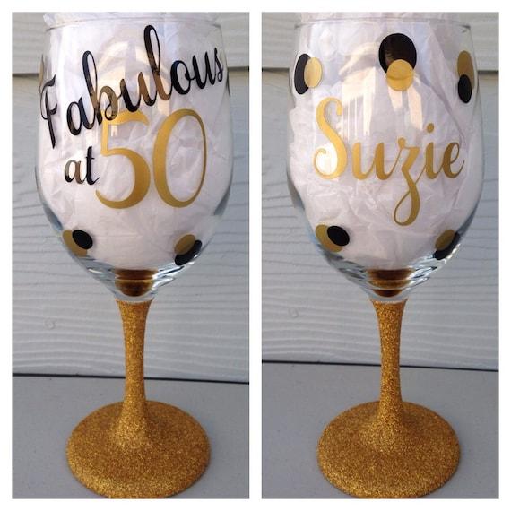 50th Birthday Large 20 Oz Wine Glass Glitter By
