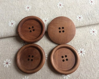 10Pcs   Large 38mm yellowish-brown Wood button 4  holes( W533)