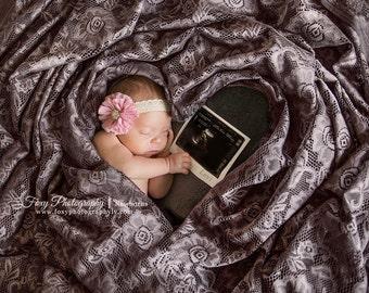 Vintage Headband- Pink Headband, Toddler Headband, Baby Headband, Lace Headband, Newborn Headband, Ivory Headband