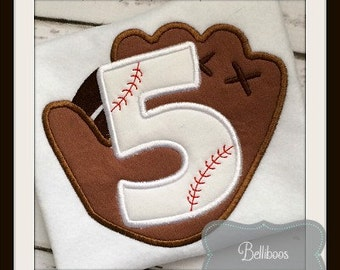 Baseball Applique Design - Softball Applique Design - Birthday Applique Design - Applique Number Set - Number Applique Design
