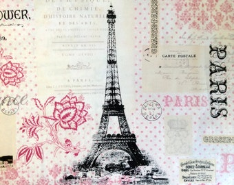 One Yard of Fabric Material - Paris Pink Collage