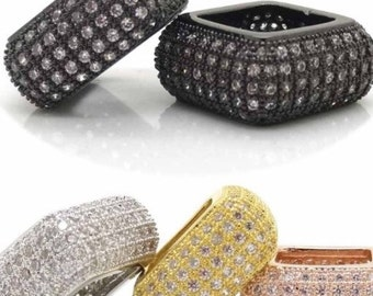 LOT x 10pcs, 14mm Micro Pave CZ Cubic Zirconia Square Beads, Micro Pave Diamond CZ Findings, Pandora Spacer beads, High Quality