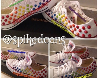 Low Rainbow Studded Converse (Adult) Also available in black
