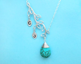 Branch, Necklace, Turquoise, Branch, Tree, Necklace, Initial, Personalized, Necklace, Cute, Minimal, Modern, Gift, Necklace, Gift, Jewelry