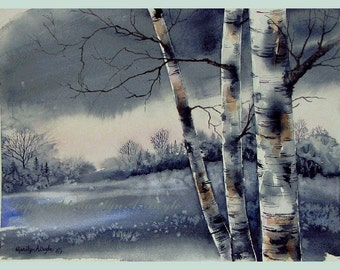 ORIGINAL WATERCOLOR - WINTER; snow, scene, landscape, birches, grey color, Canadian art, 10 x 14 inches