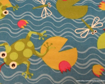 Flannel Fabric - Frogs on Lilypads- 1 yard - 100% Cotton Flannel
