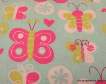 Flannel Fabric - Happy Butterfly - 1 yard - 100% Cotton Flannel