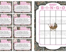 Set of 10 Printable Camo Themed Baby Shower Games & Activities (Pink)