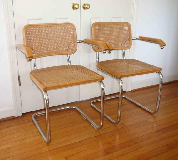 vintage marcel breuer inspir des chaises cann e set de deux. Black Bedroom Furniture Sets. Home Design Ideas