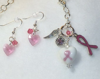 Breast Cancer awareness/survivor charm necklace and earrings set.
