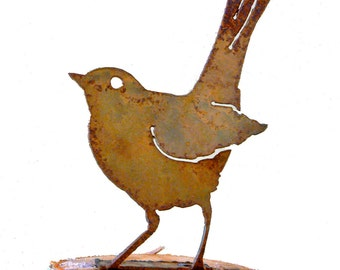 B715 Baby Robin Steel Silhouette with Rusty Patina