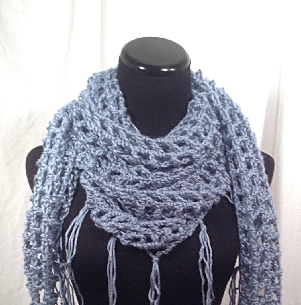 light blue fringed mesh triangle crochet scarf