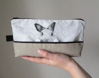bunny bag whte rabbit toiletry cosmetic pouch gift idea for bunny lovers hand painted fabric cotton ivory sandy beige
