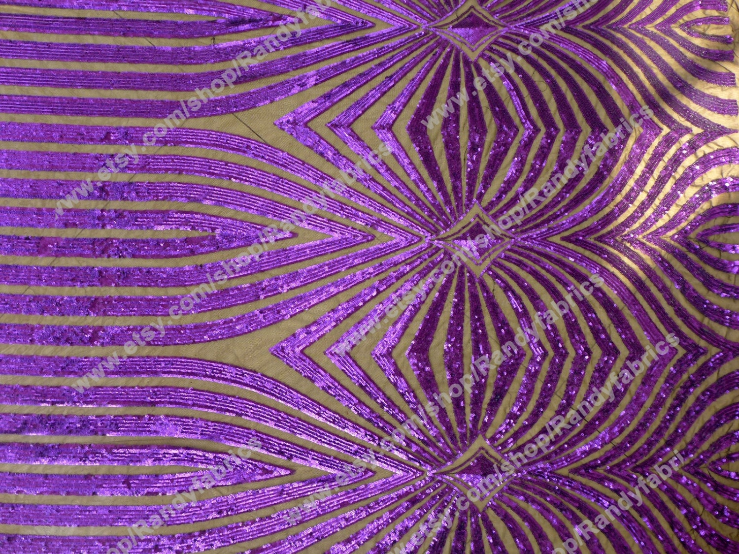 Purple sequin embroidery fabric stage performances by