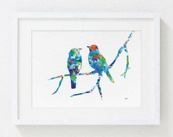Love Birds Watercolor Print - 5x7 Art Print - Bird Art Print, Wall Decor, Housewares, Animals, Gifts Reproduction Print
