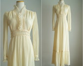 1970s wedding dress / 70s Edwardian revival dress / Simple Twist of Fate Dress