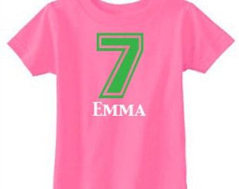 Personalized Birthday Number T-Shirt - custom with ANY number and available in 8 color combinations | Birthday T-Shirt | 7th Birthday Shirt