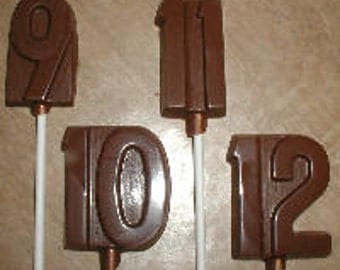 Number 9 - 12 Lolly Chocolate Mold