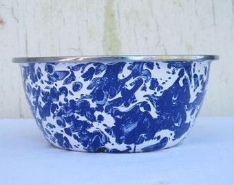 Blue Graniteware Bowl Blue Enamel Bowl  Blue Enamelware  Farmhouse Kitchen  Rustic Metal Bowl  Primitive Bowl Picnic Bowl Kids Bowl