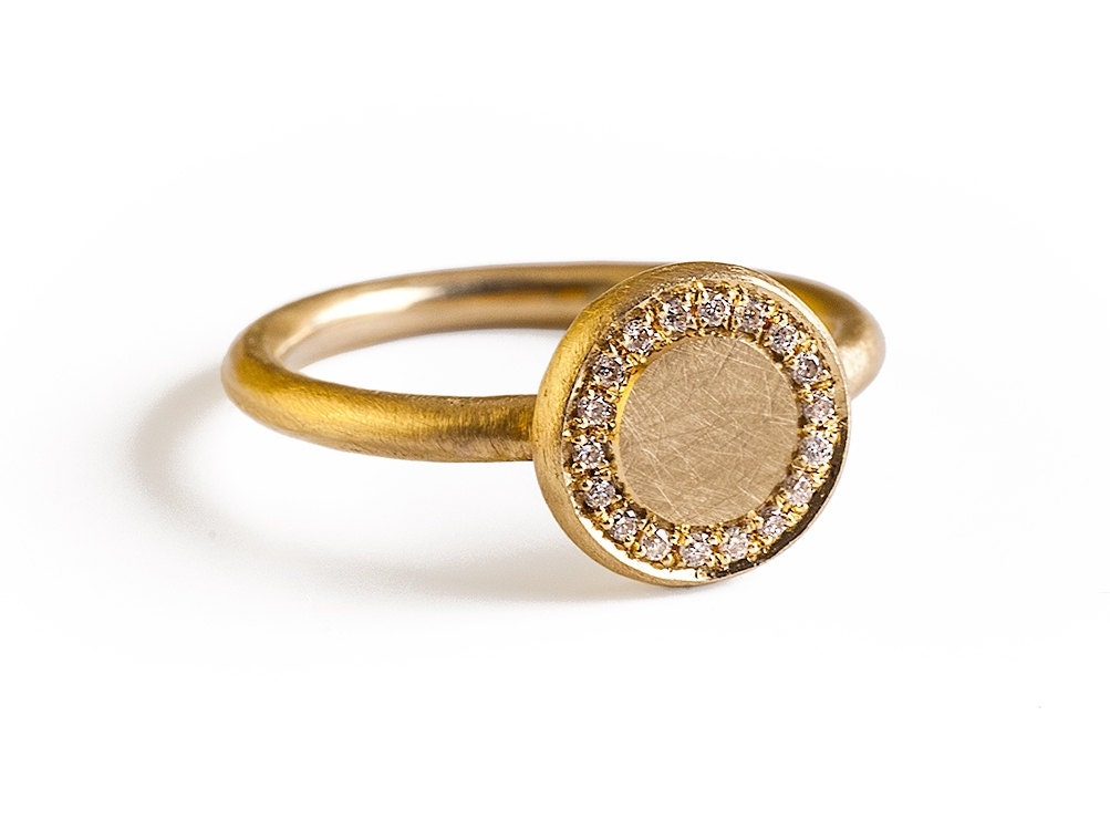 engagement ring signet solid gold ring 18k gold