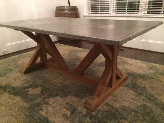 Concrete top dining room table by kerfandburled on etsy for Concrete kitchen table