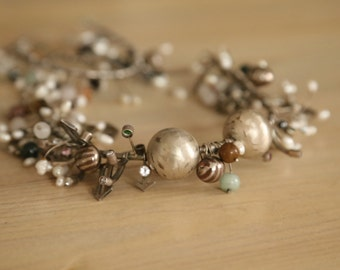 unique silver necklace & bracelet