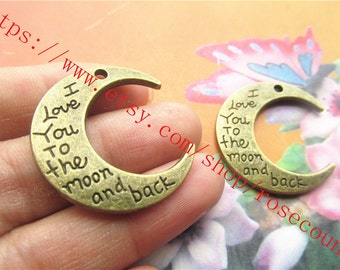 heavy both sided 50pcs 30x28mm antiqued Bronze i love you to the moon and back  charms findings