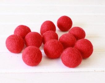 Red Felt Balls 12 count