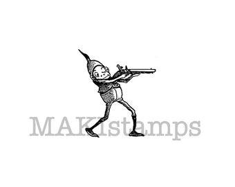 Brownie shooting pistol rubber stamp / Cowboy rubber stamp (150104)