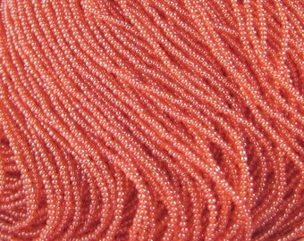2 Strands 15/0 Tangerine Orange Luster Czech Seed Beads. 1.5 mm Rocailles.