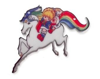 Rainbow bright vintage artwork laser cut printed charm