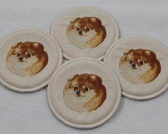 Pomeranian Embroidered Coasters