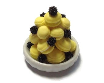 Miniature Sweet - Macaron Tower Yellow Pastel Dessert Supply Dollhouse Miniature -AM135