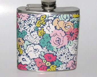 Spring Flowers 6 or 8 oz Size Stainless Steel Liquor Hip Flask Flasks Wedding Bridesmaids Gift Idea