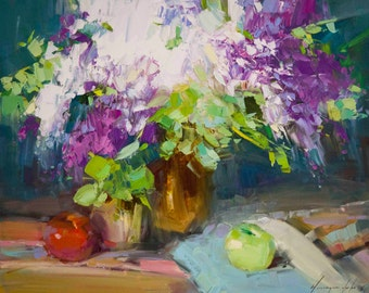Lilacs Still life Impressionism Handmade oil Painting on Canvas 16 x 20 in One of a Kind