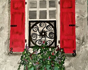 Charleston Window with Red Shutters and Teal Flower Box