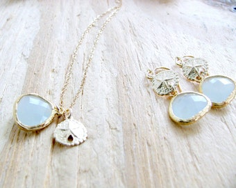 sand dollar necklace & earring set alice blue earrings alice blue necklace beach wedding bridesmaid sets sand dollar jewelry alice blue