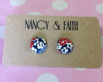 Floral Fabric Covered Earrings