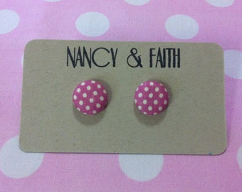 Pink & White Polka Dot Fabric Covered Earrings