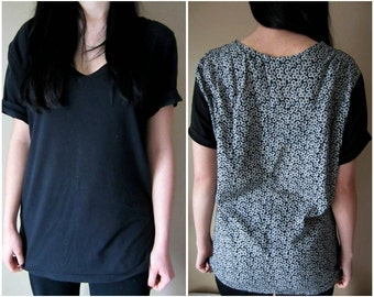 Handmade Black/Floral Long Comfy Shirt