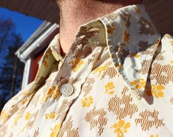 Vintage - 70s Flower Floral Short Sleeve Button Up - M Shirt Mens