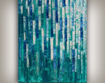 Painting, Textured wall art, Turquoise Large Art, Large Palette Knife Painting, Heavy Texture Home Decor, Canvas Art Office Decor by Nandita