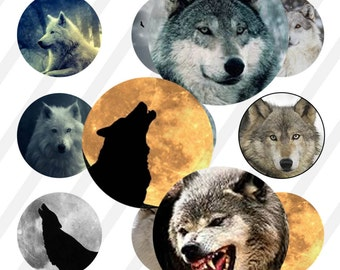 INSTANT DOWNLOAD  Wolves 4x6 Bottle Cap Images Digital Collage Sheet for bottlecaps