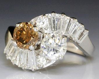 1.86ctw Round Fancy Brown & White Diamond Swirl Bypass Wide Ring White Gold