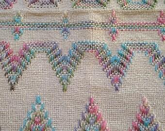 Vintage Huck Weave Scandinavian Design Cotton Blanket