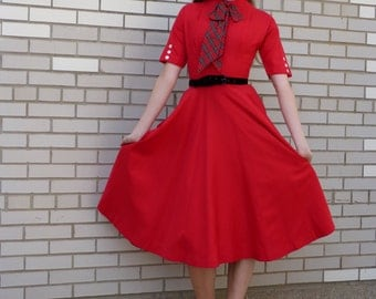 Vintage 1950's Red Circle Dress with Short Sleeves and Fitted Bodice