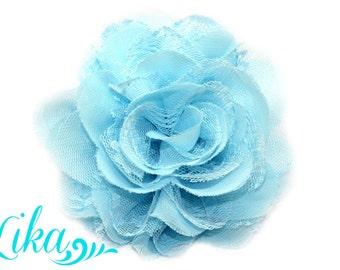 Aqua Lace Flowers - Chiffon Flower - Lace rose - Shredded Lace Flower - Wholesale - Supply - DIY- 3.75 inch