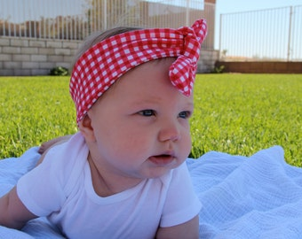 Red Gingham Headband, Top knot headband, baby headwrap